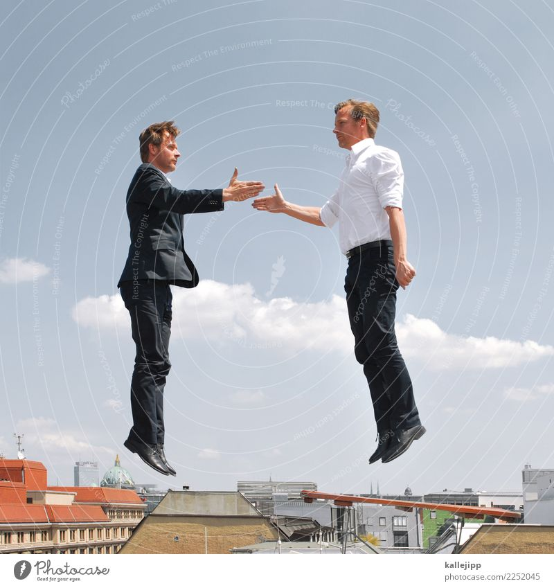 Two businessmen shaking hands in the air Profession Workplace office Economy Financial Industry Stock market Financial institution Human being Masculine Man