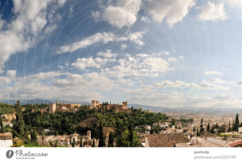 Panorama of Albaicin, Alhambra in Granada, Andalusia, Spain Vacation & Travel Tourism Trip Sightseeing City trip Small Town House (Residential Structure) Palace