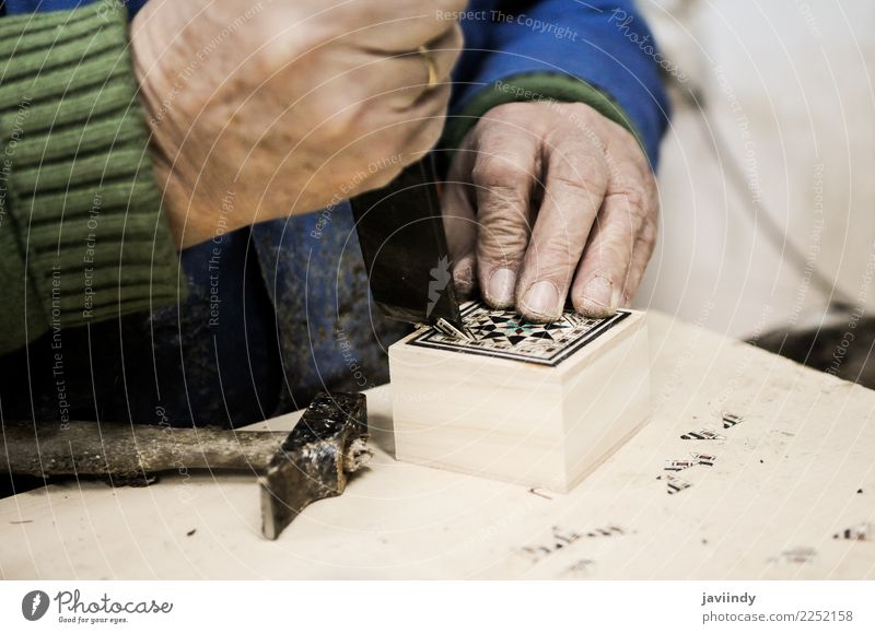 Craftsman working in his workshop wooden boxes Male senior Man Hand Fingers 1 Human being 45 - 60 years Adults Build Tradition Characteristic Craftsperson