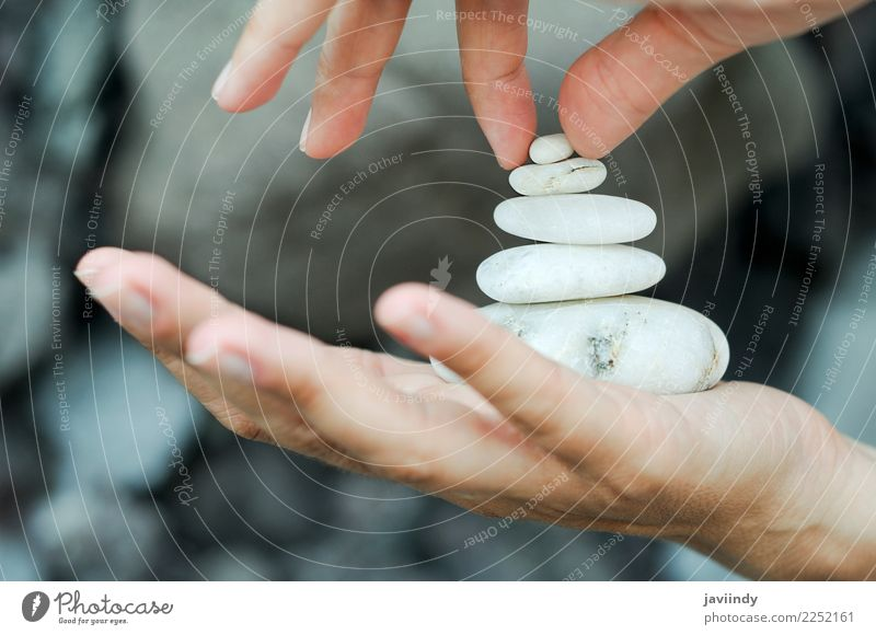 Gravel pile in woman hands Meditation Vacation & Travel Woman Adults Hand Fingers 1 Human being Stone Happiness Serene Calm Religion and faith Cliff Zen