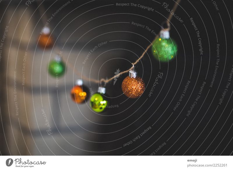 Christmas & Advent Green Orange Decoration Kitsch Glitter Ball Christmas decoration Odds and ends Paper chain