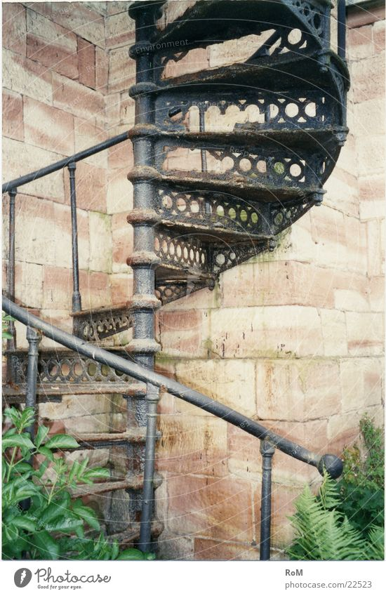 Graffiti Stairs Decline Historic Handrail Winding staircase Cast iron