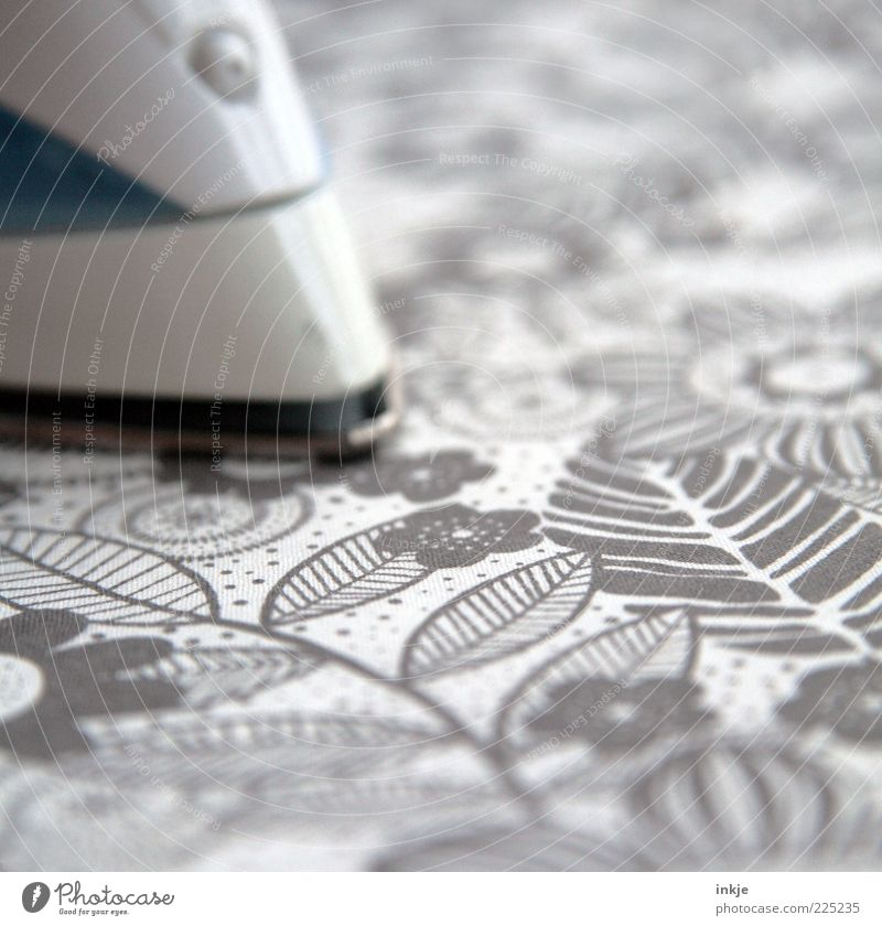 ironing pattern Electric iron Ironing board Kitsch Trashy Moody Diligent Orderliness Cleanliness Effort Stress Old fashioned Flowery pattern Household