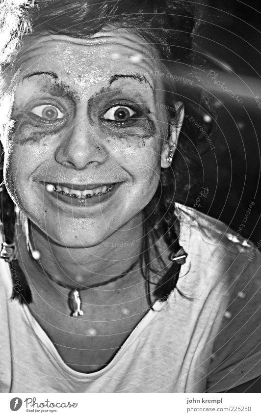 Human being Eyes Head Crazy Cool (slang) Creepy Make-up Trashy Bizarre Freak Grinning Punk Grimace Braids Hallowe'en Mirror image
