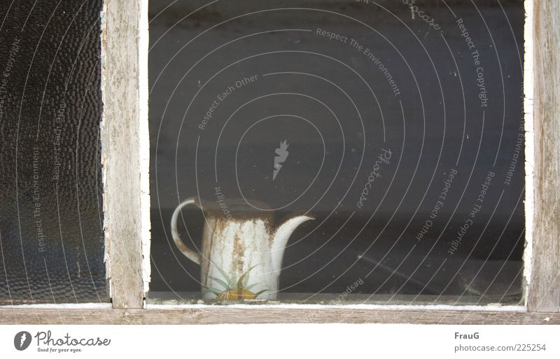 Dusty and forgotten Window Old Wait White Loneliness Apocalyptic sentiment Sadness Decline Colour photo Day Jug Containers and vessels Carry handle Pane Frame