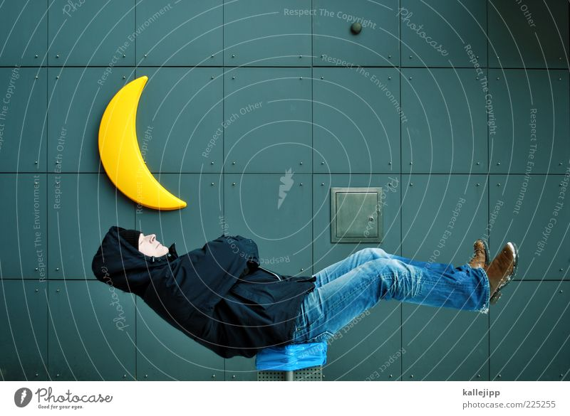 Human being Man Calm Life Wall (building) Dream Adults Lamp Footwear Sit Sleep Crazy Jacket Cap Moon Whimsical