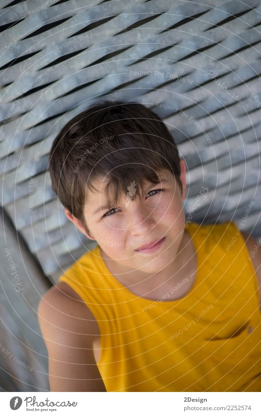 Smiling teen portrait wearing a yellow shirt Child Human being Youth (Young adults) Man Summer Relaxation Street Adults Yellow Lifestyle Sports Boy (child)
