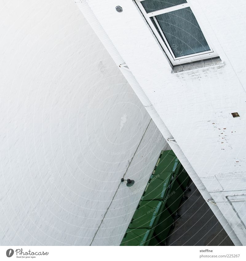 Angled House (Residential Structure) Wall (barrier) Wall (building) Window Interior courtyard Trash container White Colour photo Abstract Pattern