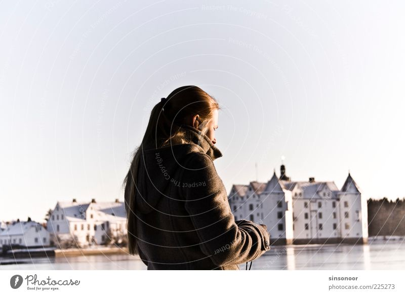 Human being Youth (Young adults) White Calm Black Feminine Landscape Esthetic Castle Landmark Beautiful weather Tourist Sightseeing Famousness Tourist Attraction Young woman