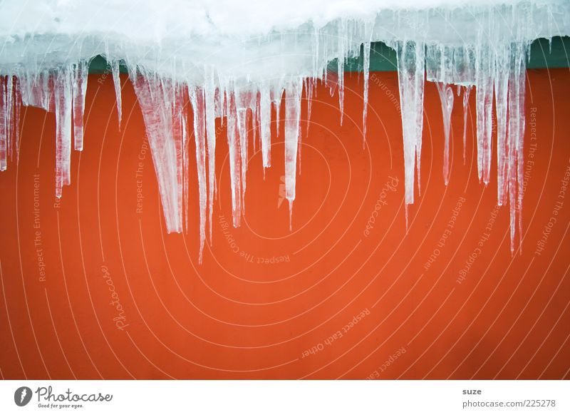 Hot & Cold Winter Ice Frost Facade Point Red Icicle Wall (building) Frozen Melt Colour photo Multicoloured Exterior shot Abstract Structures and shapes Deserted