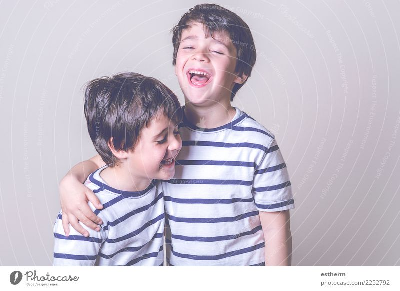 smiling brothers Child Human being Joy Lifestyle Love Funny Emotions Family & Relations Laughter Boy (child) Playing Together Friendship Masculine Infancy