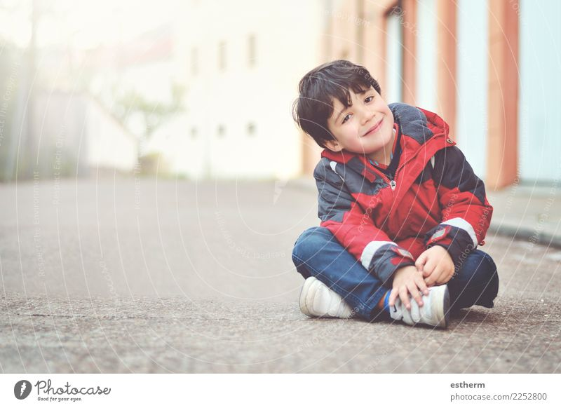 Happy boy sitting on the floor Child Human being Joy Lifestyle Love Funny Emotions Laughter Leisure and hobbies Masculine Infancy Sit Smiling Happiness