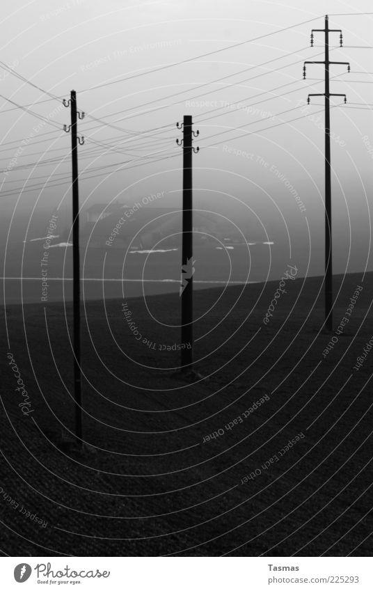 House (Residential Structure) Dark Fog Energy industry Electricity Farm Iceland Electricity pylon Telegraph pole Shroud of fog Misty atmosphere