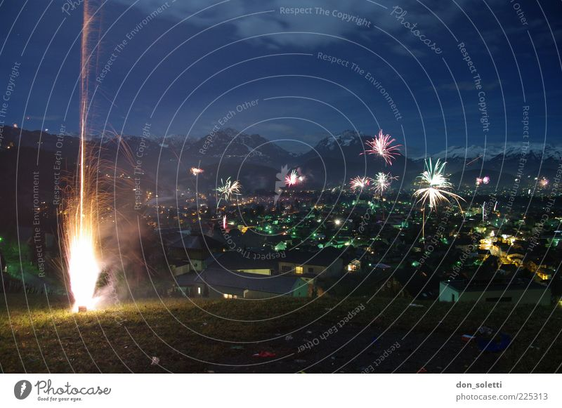Alpine missiles II Landscape Fire Air Sky Cloudless sky Hill Alps Mountain Hope Colour photo Exterior shot Deserted Night Panorama (View) Firecracker Dark
