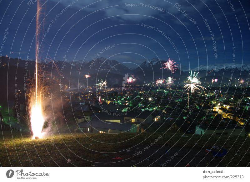 Sky Dark Mountain Landscape Air Lamp Fire Hope Hill Alps New Year's Eve Firecracker Cloudless sky Pyrotechnics