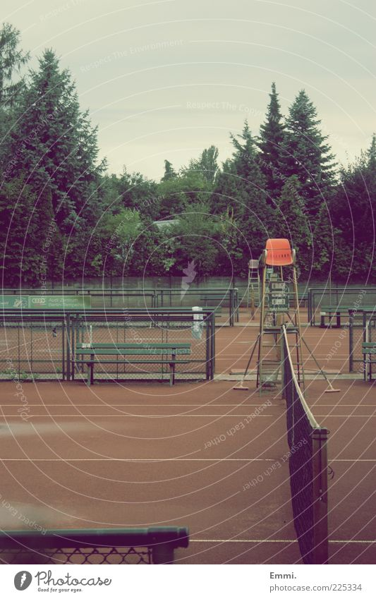 yesterday Sports Referee Tennis Tennis court Net Deserted Retro Gloomy Calm Colour photo Exterior shot Day Central perspective