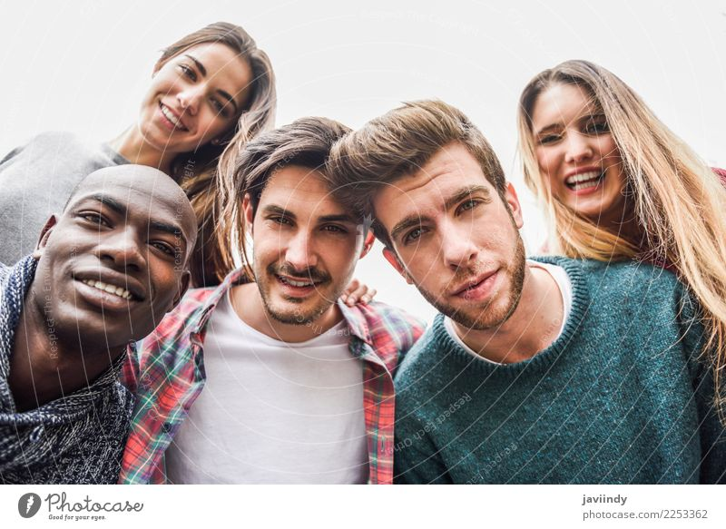 Multiracial group of friends taking selfie Woman Human being Youth (Young adults) Man Young woman Young man Joy 18 - 30 years Street Adults Lifestyle Laughter