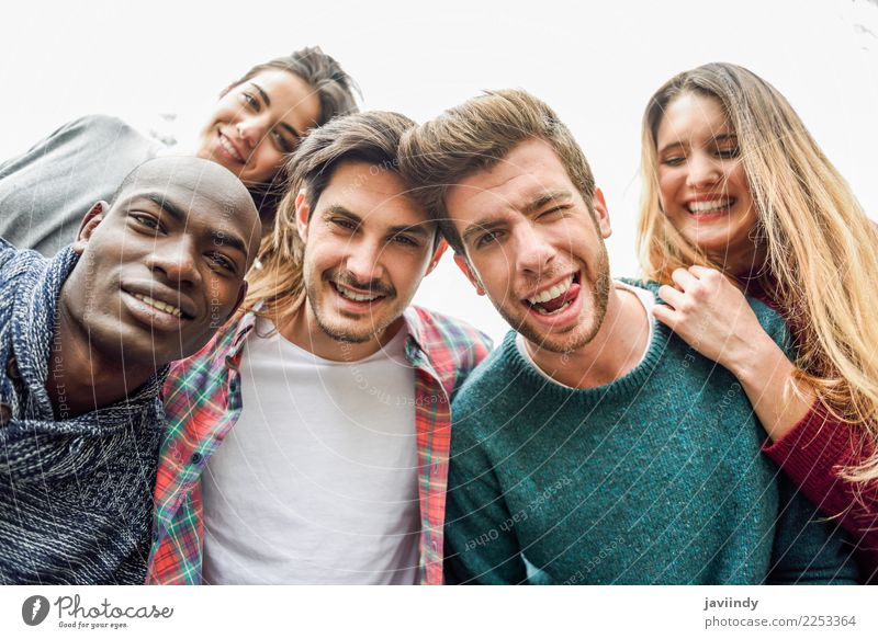 Multiracial group of friends taking selfie smiling Woman Human being Vacation & Travel Youth (Young adults) Man Young woman Young man Joy 18 - 30 years Adults