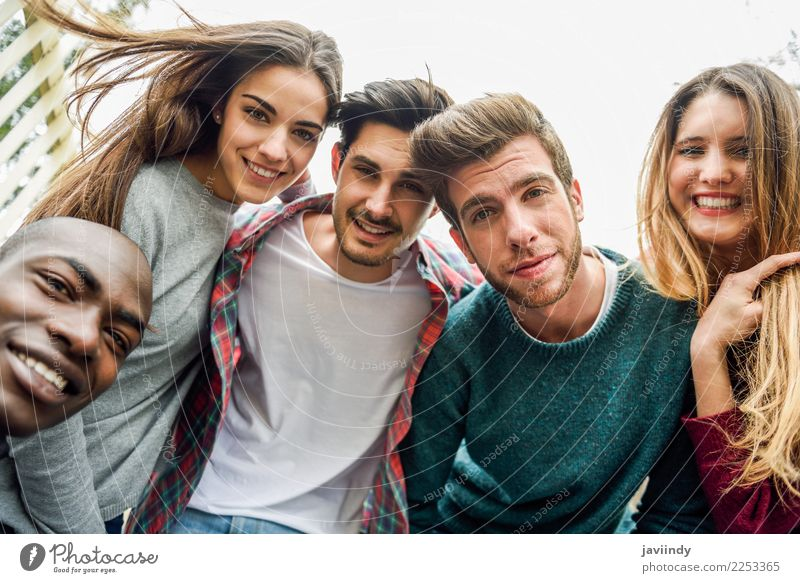 Multiracial group of friends taking selfie Woman Human being Vacation & Travel Youth (Young adults) Man Young woman Beautiful Young man Joy 18 - 30 years Street