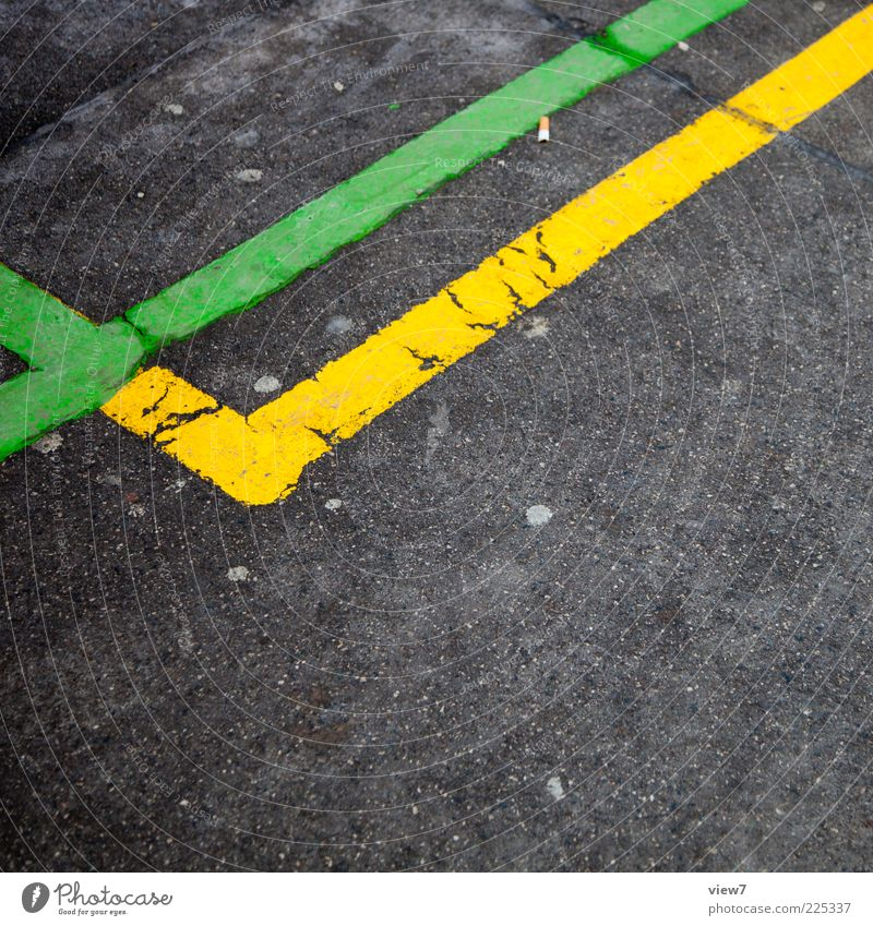 Old Green Yellow Lanes & trails Line Concrete Design Stripe Simple Asphalt Thin Sign Border Traffic infrastructure Tar Multicoloured