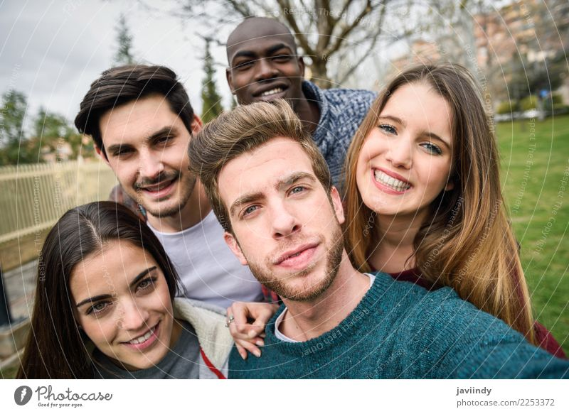 Multiracial group of friends taking selfie together Woman Human being Vacation & Travel Youth (Young adults) Man Young woman Beautiful Young man Joy