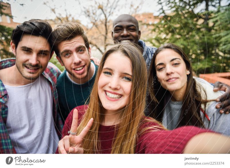 Multiracial group of friends taking selfie Lifestyle Joy Happy Beautiful Leisure and hobbies Vacation & Travel Telephone PDA Camera Technology Human being