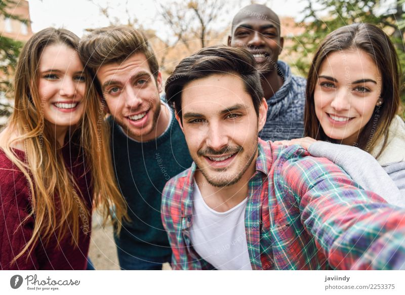 Multiracial group of friends taking selfie together Woman Human being Youth (Young adults) Man Joy 18 - 30 years Street Adults Lifestyle Laughter Happy Group