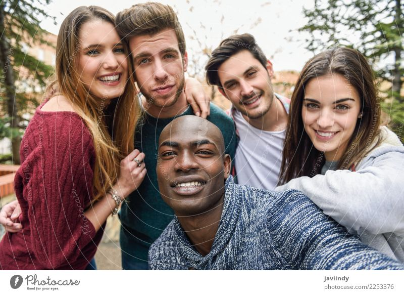 Multiracial group of friends taking selfie together Woman Human being Vacation & Travel Youth (Young adults) Man Young woman Beautiful Joy 18 - 30 years Street