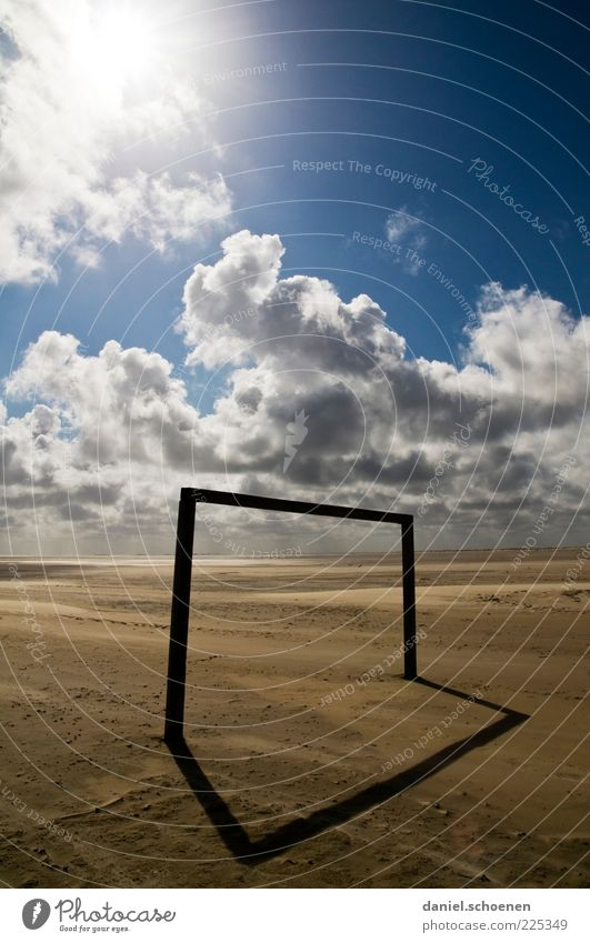 Blue Sun Summer Beach Vacation & Travel Ocean Clouds Sand Weather Empty Goal Without Beautiful weather Football pitch Climate Lack