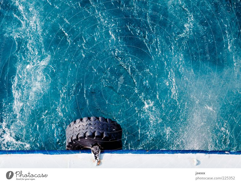 spare tyres Water Sunlight Navigation Ferry On board Tire Driving Wet Round Blue Black White Performance Bubbling Colour photo Multicoloured Exterior shot
