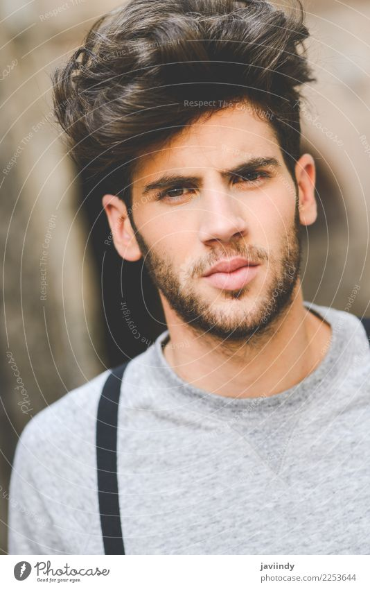 young man with modern hairstyle Lifestyle Style Hair and hairstyles Summer Human being Masculine Feminine Young man Youth (Young adults) Man Adults Face 1