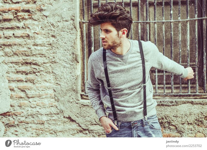 young man wearing suspenders in urban background Lifestyle Style Hair and hairstyles Summer Human being Masculine Young man Youth (Young adults) Man Adults 1