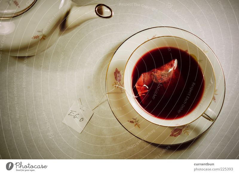 There's sugar missing, dear lady! Have you also stirred your ego? Ego Bizarre Tea Teabag Teapot Teatime Egotistical First person view Red Colour photo Deserted