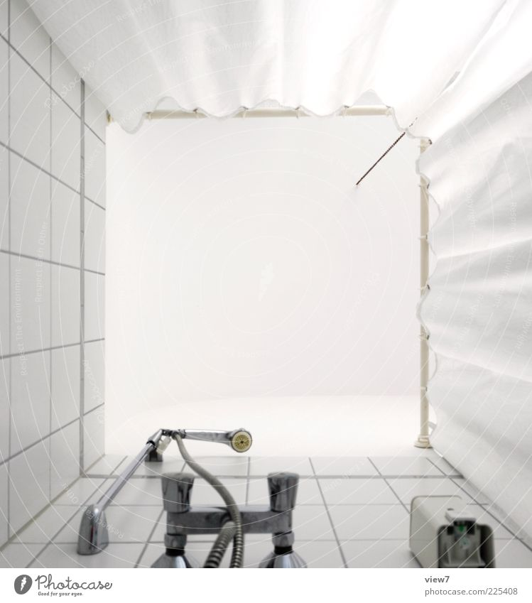 Take a shower: Bathroom Plastic Line Stripe Old Tall New Clean White Beginning Uniqueness Perspective Pure Shower (Installation) Shower head Shower curtain