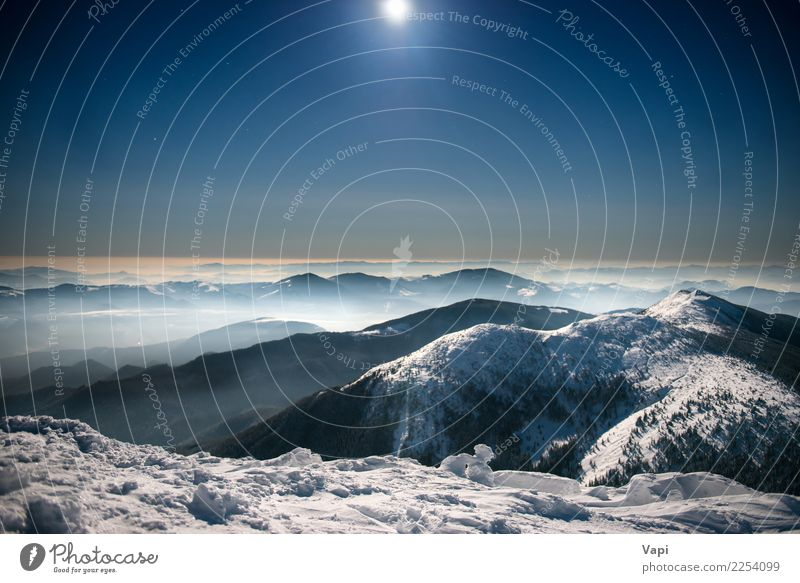 Mountains in snow at night under dark blue sky Beautiful Vacation & Travel Tourism Adventure Far-off places Winter Snow Winter vacation Environment Nature
