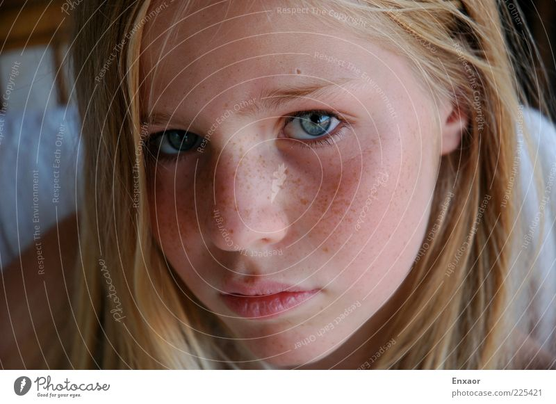 Human being Child Youth (Young adults) Blue Beautiful Girl Face Eyes Feminine Hair and hairstyles Sadness Moody Mouth Blonde Skin