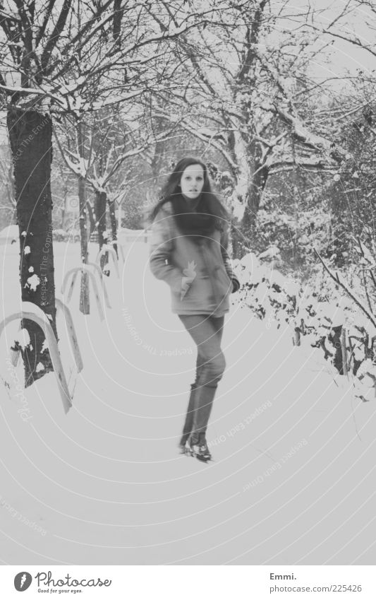 hey little girl Human being Feminine Young woman Youth (Young adults) 1 Winter Snow Going Looking Thin Gray White Black & white photo Exterior shot Day