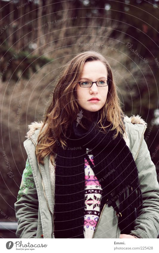 far away Human being Feminine Young woman Youth (Young adults) 1 Coat Eyeglasses Scarf Brunette Think Free Brown Green Colour photo Exterior shot Day