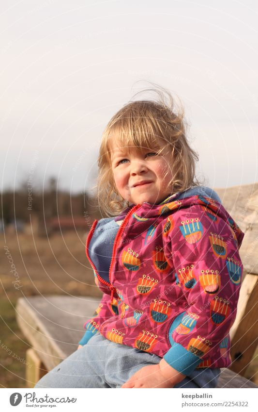 li_006 Playing Hiking Parenting Kindergarten Child Human being Feminine Toddler Girl Infancy 1 3 - 8 years Environment Nature Park Field Forest Jeans Jacket