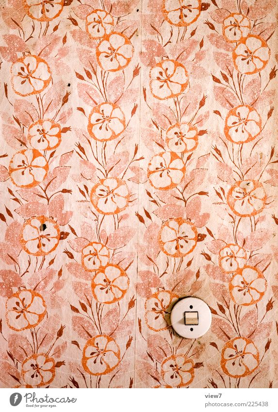 Old Red Pink Dirty Interior design Retro Round Transience Wallpaper Original Abrasion Light switch To wallpaper Wallpaper pattern