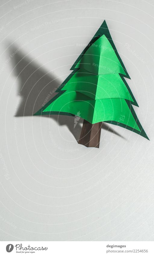 Christmas pine tree made of paper on paper Design Winter Decoration Feasts & Celebrations Christmas & Advent Art Tree Paper Ornament New Green White Tradition