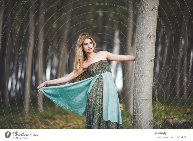Blonde woman wearing vintage dress in a poplar forest Woman Human being Nature Youth (Young adults) Young woman Beautiful White Relaxation Forest 18 - 30 years