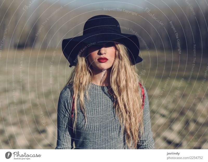 Young blonde woman with hat in rural background. Woman Human being Nature Youth (Young adults) Young woman Beautiful 18 - 30 years Adults Natural Feminine
