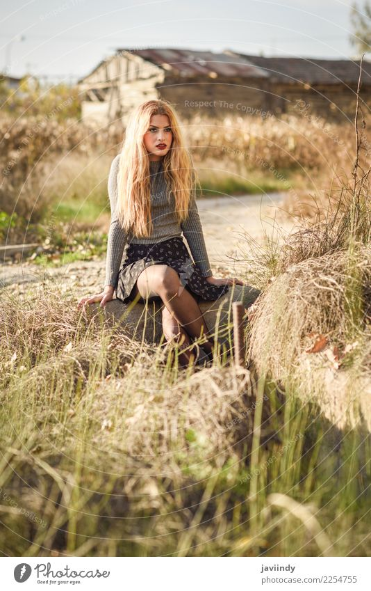 Beautiful young blonde woman in rural background. Hair and hairstyles Human being Feminine Young woman Youth (Young adults) Woman Adults 1 18 - 30 years Nature
