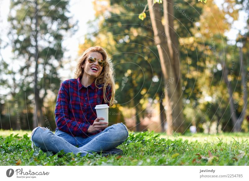 Blonde girl drinking coffee in park sitting on grass Coffee Tea Lifestyle Joy Happy Beautiful Hair and hairstyles Relaxation Human being Feminine Young woman