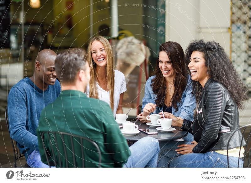 Multiracial group of five friends having a coffee together Coffee Lifestyle Shopping Joy Happy Beautiful Summer Table Meeting Human being Young woman