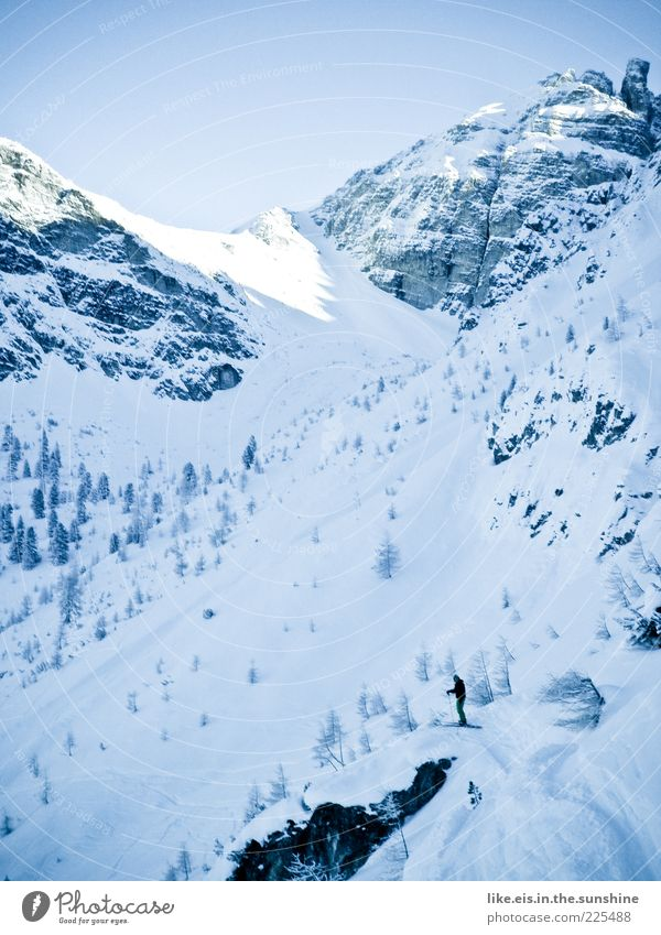 Human being Man Blue White Winter Loneliness Calm Adults Snow Sports Mountain Masculine Trip Adventure Skiing Alps