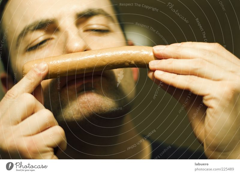 Human being Man Hand Food Adults Fingers To hold on Delicious Fragrance Appetite To enjoy Odor Sausage Nutrition Action Small sausage