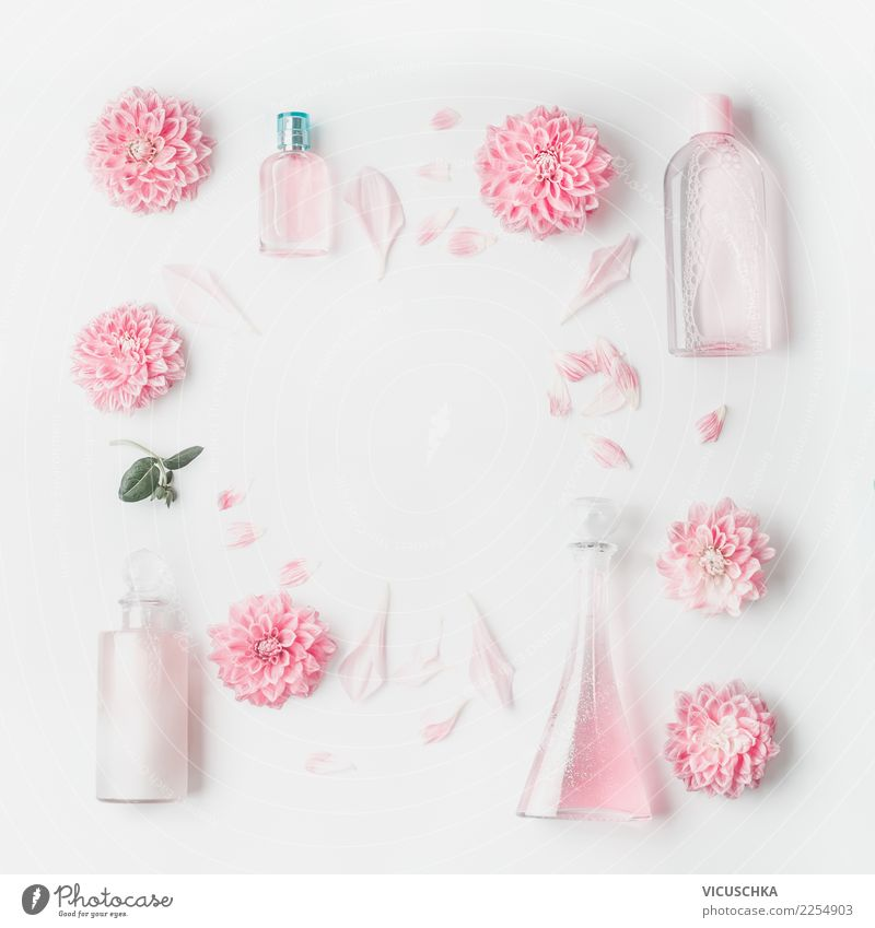 Beautiful Flower Healthy Background picture Style Pink Design Decoration Wellness Rose Collection Personal hygiene Cosmetics Still Life Bottle Conceptual design