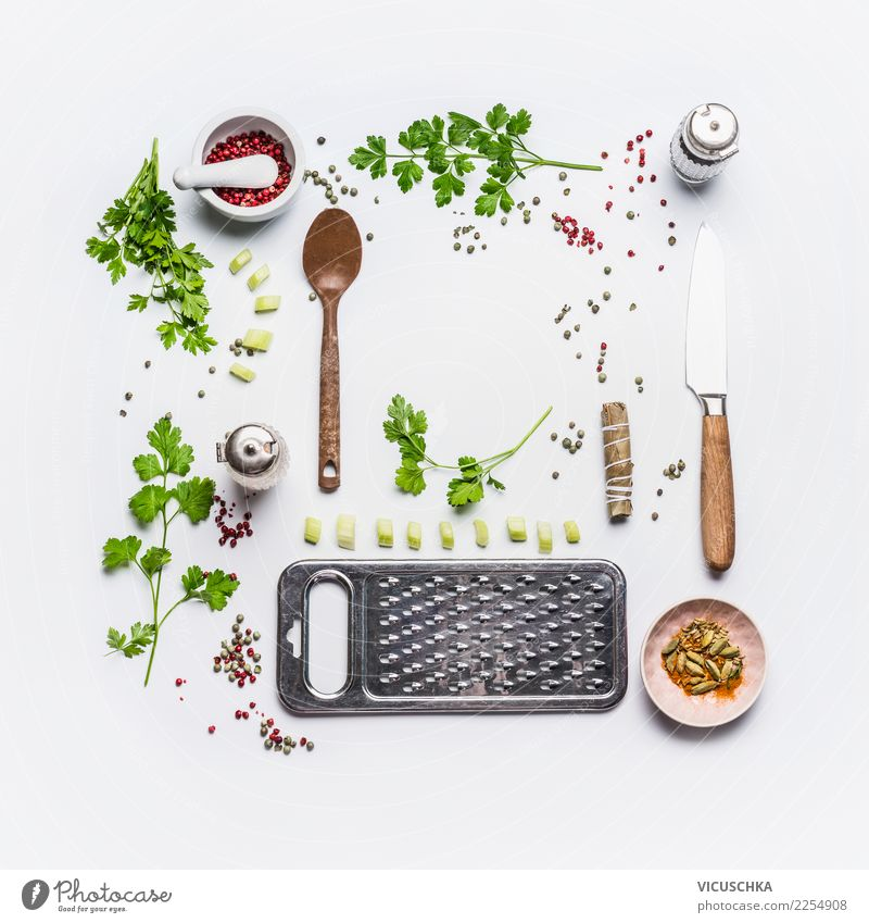 Fresh cooking with kitchen herbs Food Herbs and spices Cooking oil Nutrition Organic produce Vegetarian diet Diet Crockery Knives Spoon Style Design Healthy
